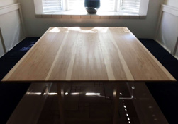 Bastrop Table - Hickory table top with bevel cut for a customer kitchen banquette