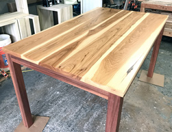 Austin Table - Hickory table top with custom 3x3 Parson base in mahogany