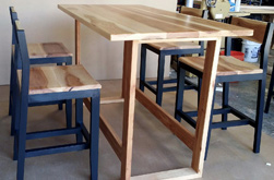 Austin Table - Bar height hickory table set with matching stools and custom footrest