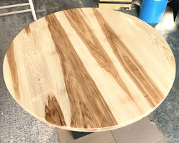 Tyler Table - Large round hickory table on black base