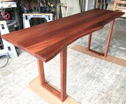 Bandera Table - Mahogany writing desk with optional live edge cut on only one side