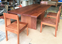Bandera Table - Mahogany table set with matching chairs and bench and optional live edge cut