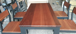 Bandera Table - Mahogany table with black base and matching chairs