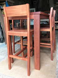 Bandera Table - Bar height mahogany table set with matching stools