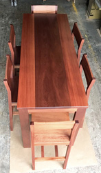 Bandera Table - Counter height mahogany table set with matching stools