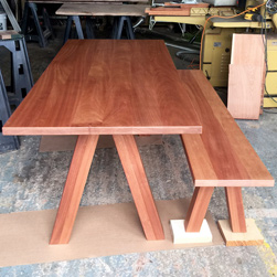 Bandera Table - Mahogany table and base with matching bench