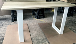 Cleveland Table - Counter height poplar table with white base