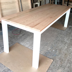 Clemson Table - Red oak table with white base and apron