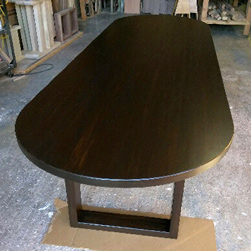 Springfield Table - Oval black walnut finish table and base