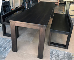 Bronx Table - Black walnut finish table set with bevel cut corners and custom benches