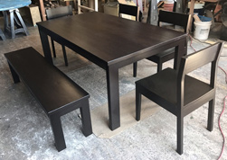 Bronx Table - Black walnut finish table set with chairs and bench