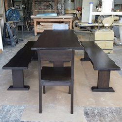 Odessa Table - Live edge table set with chairs and benches in black walnut finish