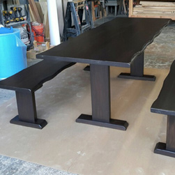 Odessa Table - Live edge table set with benches in black walnut finish