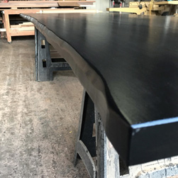 Aspen Table - Black finish table top with optional live edge cut