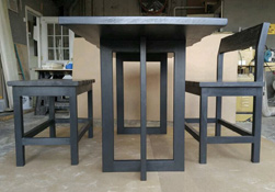 Aspen Table - Black finish table and base with optional live edge cut and custom benches