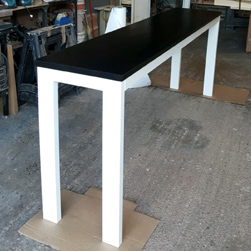 Aspen Table - Bar height black finish table top with white base