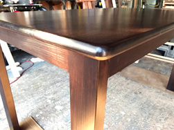 Burke Table - Bronze walnut finish table and base with bullnose edges