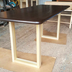Burke Table - Bronze walnut finish table top with bullnose edges on poplar base