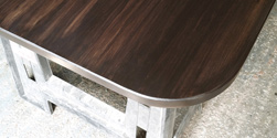 Boston Table - Bronze walnut finish table top with optional round corners