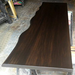 Boston Table - Bronze walnut finish table top with optional live edge cut on one side only for a work desk