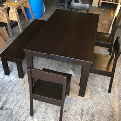 Boston Table - Bronze walnut finish table set with chairs and bench