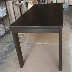 Boston Table - Bronze walnut finish table with based reversed to accommodate two end chairs