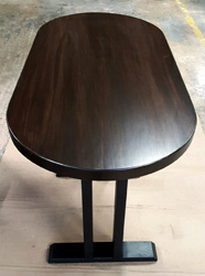 Springfield Table - Small oval table finished with bronze walnut on black trestle base