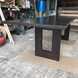 Richardson Table - Bronze walnut finish table with live edge cut and custom base