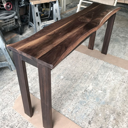 Garland Table - Bar height walnut table top with live edge cut and espresso finish base