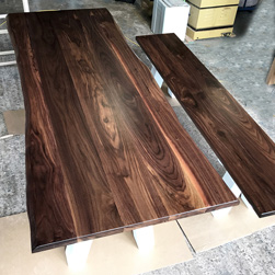 Garland Table - Walnut table top with live edge cut and seating bench on custom 4x4 V base in white finish
