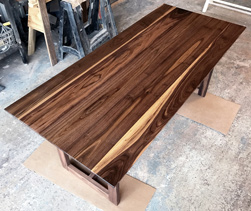 Victoria Table - Walnut table top with custom walnut base