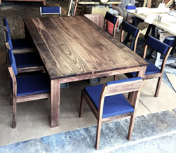 Victoria Table - Walnut table set with custom upholstered chairs