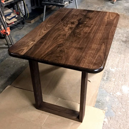 Victoria Table - Walnut table and base with optional bullnose edges