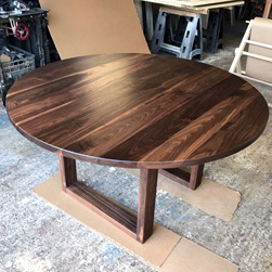 Katy Table - 60 inch wide round walnut table top and base