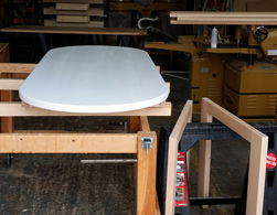 Cupertino Table - Oval table top with white finish for a small conference table
