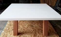 Stockton Table - Square table top with white finish on Spanish Cedar base for a coffee table