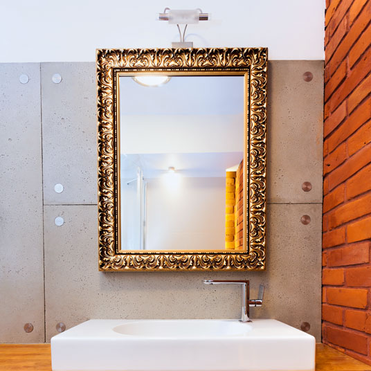 Custom gold frame bathroom mirror