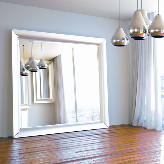 Oversized silver floor mirror