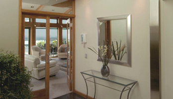 Mirror with silver frame for foyer space